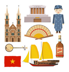different pictures of vietnam symbols isolate on vector image