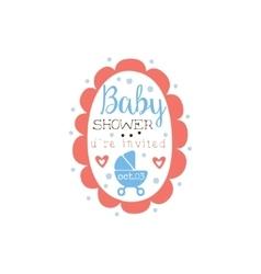 Round frame baby shower invitation design template vector