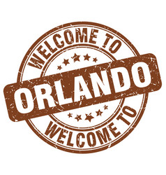 welcome to orlando brown round vintage stamp vector image vector image