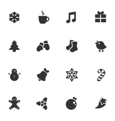 Winter shape style stickers icon set vector image