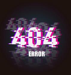 404 error glitch neon banner design element vector