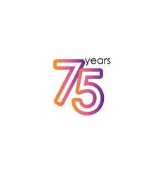 75 years anniversary color full elegant vector