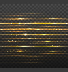 abstract gold laser beams with shiny sparks vector image