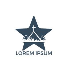 baptist cross in mountain logo design vector image