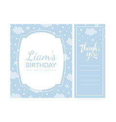 Bashower invitation card template thank you vector