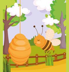 bee honeycomb fence trees plants farm animal vector image