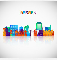 Bergen skyline silhouette in colorful geometric vector