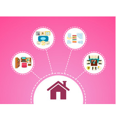 big house icon and rooms on vector image