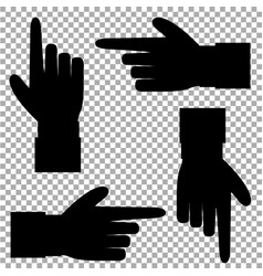 Black silhouette of hand with pointing in various vector