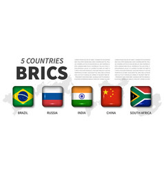 Brics and membership flag association of 5 vector
