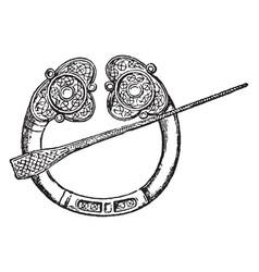 Brooch vintage engraving vector
