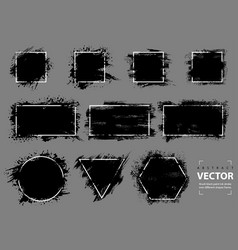 brush black ink stroke over different shapes frame vector image