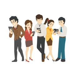 Businessman and woman looking at their phones vector