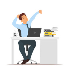 Businessman sitting at his workplace and resting vector