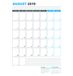 calendar template for august 2019 business vector image