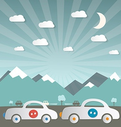 Cars on Road with Mountains on Background vector image