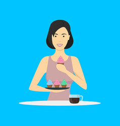 cartoon character person eating dessert cupcakes vector image