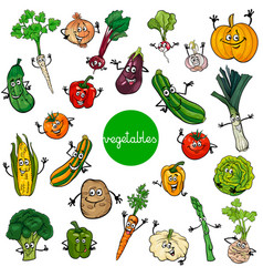 Cartoon vegetables characters collection vector