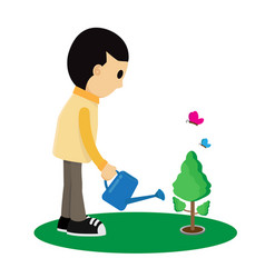 child is watering a tree cartoon vector image