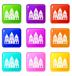 Children house castle set 9 vector