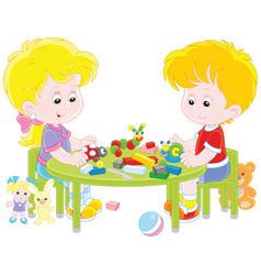 Children making plasticine toys vector