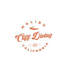 Cliff diving logo inspirations t shirt restaurant vector