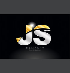 Combination letter js j s alphabet with gold vector
