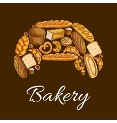 Croissant with bread and bun bakery poster design vector image
