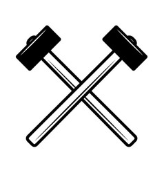crossed hammers design element for poster emblem vector image