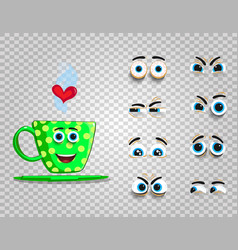 Cute emoji set of green cup with changeable eyes vector