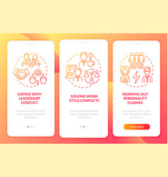 Dealing with team conflicts red onboarding mobile vector