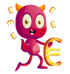 devil with euro sign on white background vector image