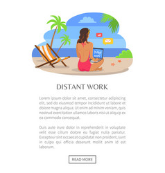 Distant work poster push button read more woman vector
