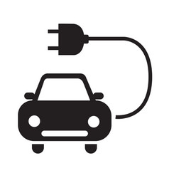 electric car icon silhouette black isolated on vector image