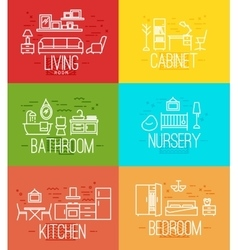 Flat room furnishing vector image