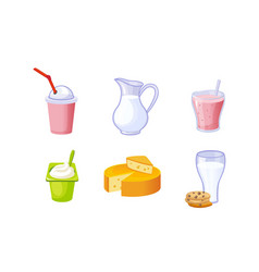 fresh delicious dairy products set milk vector image