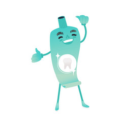 funny toothpaste character smiling - dental health vector image