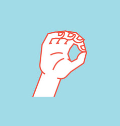 Gesture zero a little bit sign stylized hand vector