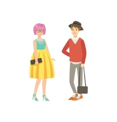 Girl With Pink Hair In Yellow Skirt And Guy Shotr vector image