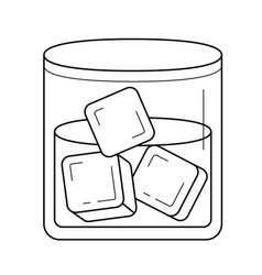 glass of water with ice cubes line icon vector image