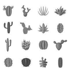 Green cactuses icons set monochrome vector