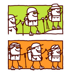 hand drawn cartoon characters - trekking in the vector image