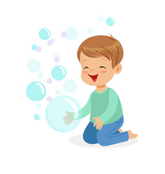 happy boy kneeling playing bubbles vector image
