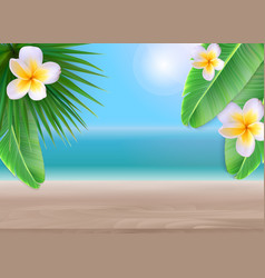 hello summer background with palm leaves vector image