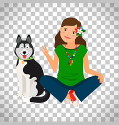 Hippie girl with dog icon vector