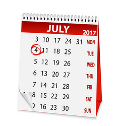 icon calendar for july 4 2017 vector image
