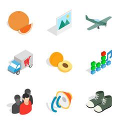 Intake icons set isometric style vector