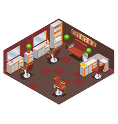 isometric barber shop interior concept vector image