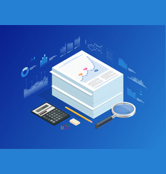 isometric stack of documents with an official vector image