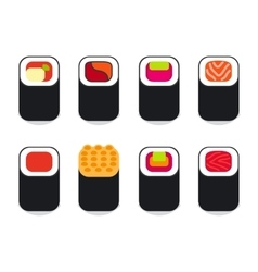 Japanese food sushi icons set vector